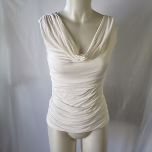 Poetry draped neck ruched top size M